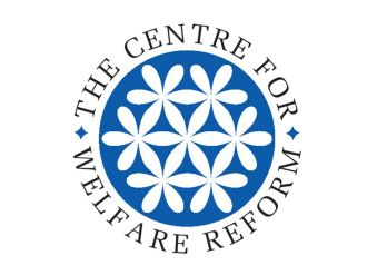 Centre for Welfare Reform logo with a blue emblem with white flowers in the centre