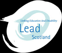 Lead scotland logo blue text on black square