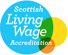 Scottish Living Wage accreditation logo white text shown in 3 bubbles