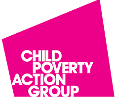 Bright pink rhombus with 'Child Poverty Action Group' in white text