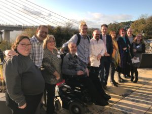 SDSS Membership representatives in front of the Queensferry Crossing