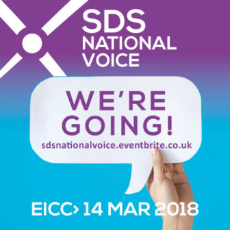 'We're going' logo for SDS National Event to highlight further programme announcement