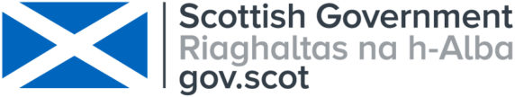 Scottish Government logo with blue and white saltire flag.