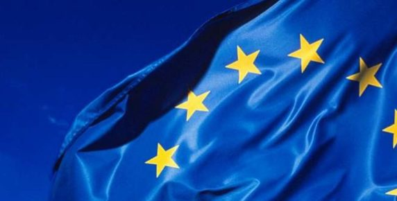 EU Blue flag with yellow stars in a circle