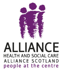 the ALLIANCE logo featuring 3 purple illustrated figures and the text 'Health and Social Care, Alliance Scotland, people at the centre'