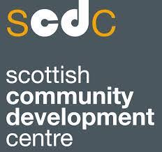 Grey box with yellow and white text which reads 'SCDC Scottish Community Development Centre'