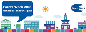 Carers week graphic with a range of cartoon buildings on a street including a school, pub, church, cafe and university with the text 'Carers Week 2018 Monday 11-Sunday 17th June