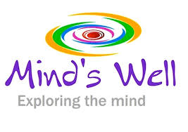 Mind's Well logo with multicoloured swirl tag line reads 'Exploring the mind'