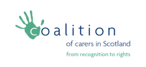 Coalition of Carers Logo which has a green handprint over the 'C' with tag line 'From recognition to rights'