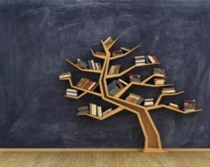 Image of tree with books resting on each branch