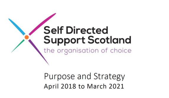 Screeshot of strategy report with SDSS logo (a multicoloured saltire) text reads 'Purpose and Strategy April 2018-March 2021)