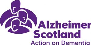Alzheimer Scotland logo with purple text and tag line 'Action on Dementia'