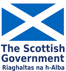 Scottish Goverment logo, blue and white saltire flag