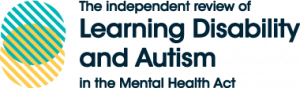 The Independent review of Learning Disabilty and Autism logo with white and green circles graphic