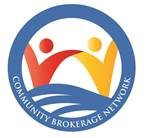 Community Brokerage Network logo featuring red and yellow cartoon figures in a blue circle