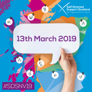 multicoloured map of scotland with broups of figures pin pointed hand hold a speech bubble which reads '13th March 2019'