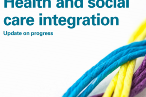 Cover of report white background with yellow purple and blue string intertwined