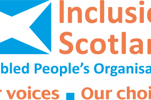 Inlcusion scotland logo with text 'our voices, our choices'