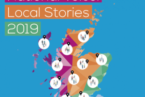 SDS National Voice programme cover featuring a multicoloured map of scotland