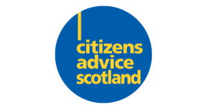 blue circle with yellow text which reads 'Citizens advice Scotland'
