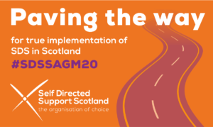 Orange background with a faded purple road to the right hand side. Text saying Paving the way for true implementation of SDS in Scotland.